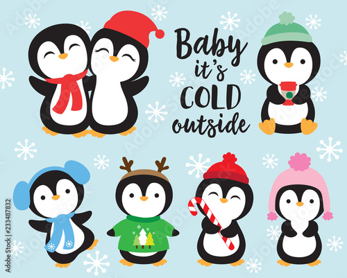 7c0938a3282b52 Cute baby penguins in winter outfits vector illustration. Penguins wearing winter  scarf and hat.