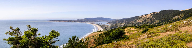 Aerial view of the Stinson Beach area of the Pacific Coastline, Marin County, north San Francisco bay area, California