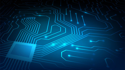 Background with glowing microcircuits and a processor, abstract blue technological background, motherboard