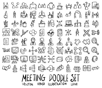 Set of Meeting icon Drawing illustration Hand drawn doodle Sketch line vector eps10