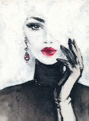 Zelfklevend Fotobehang Aquarel Gezicht beautiful woman. fashion illustration. watercolor painting