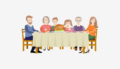 Thanksgiving Day. The family celebrates Thanksgiving at the table. Vector illustration on white background.