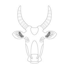 Head of a cow. Vector illustration. Coloring. Linear graphics.