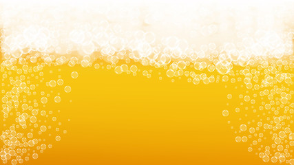 Splash beer. Background for craft lager. Oktoberfest foam. Czech pint of ale with realistic white bubbles. Cool liquid drink for bar menu design. Gold bottle with splash beer.