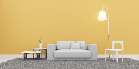 View of empty room space with furniture on laminate floor.Perspective of minimal design architecture.Sunlight cast shadow on the wall. 3d rendering.