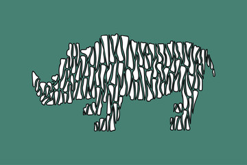 Hand drawn vector illustration black and white rhinoceros in zebra stripes style on a turquoise background