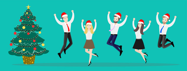 Jumping business people together. Illustration of a team of happy employees on a green background. Office staff in Christmas hats. Flat illustration for design.