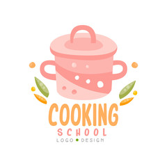 Cooking school logo design, kitchen emblem can be used for culinary class, courses, studio hand drawn vector Illustration on a white background