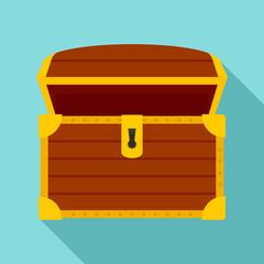 Open treasure chest icon. Flat illustration of open treasure chest vector icon for web design