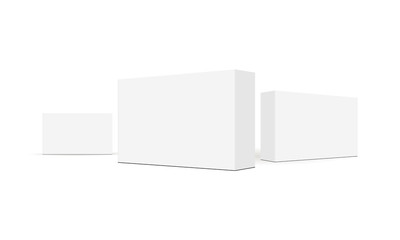 Set of rectangular packaging boxes isolated on white background. Vector illustration