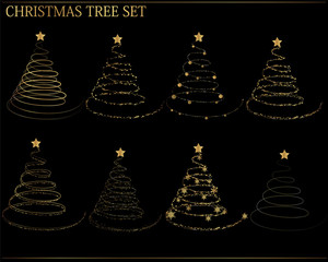 Set of christmas trees on black background