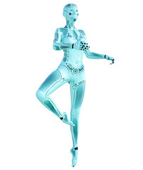 Dance robot woman. Metal azure droid. Artificial Intelligence. Conceptual fashion art. Realistic 3D render illustration. Studio, isolate, high key.