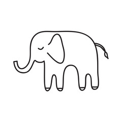 Cute white elephant. Sketch. Black outline on white background.