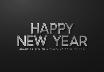 Happy New Year Sale Banner, poster, logo silver color on black background.