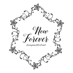 Vector flowers set with now forever hand draw
