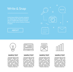 Vector line blog icons landing page in blue color style template illustration