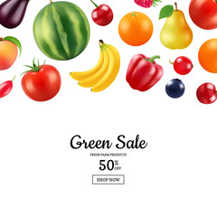Vector realistic sweet fruits and colored berries background with place for text illustration. Web banner poster