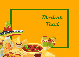 Vector cartoon mexican food background with place for text illustration. Web banner for website