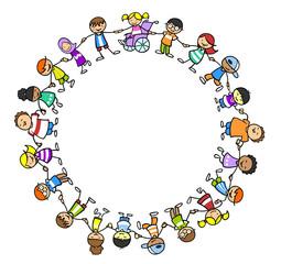 Integration und Inklusion durch Gruppe Kinder
