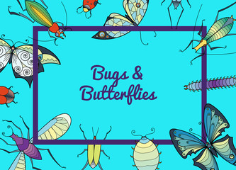 Banner and web poster vector hand drawn insects background with place for text illustration