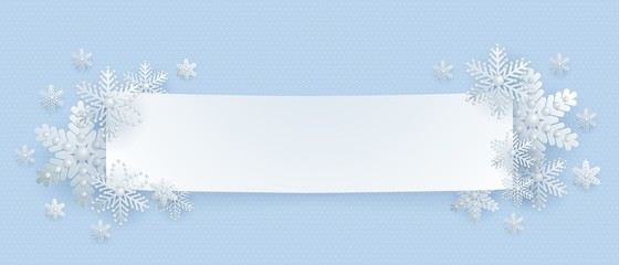 New Year and Christmas banner, polygonal frame, silver 3d snowflakes, vector