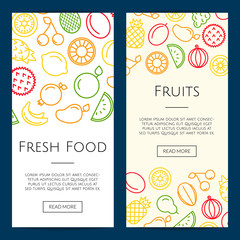 Vector colored line fruits icons web banner or poster templates illustration