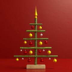 Lustiger Weihnachtsbaum aus Bambus mit Dekoration