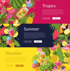 Vector flat cute summer elements, cocktails, flamingo, palm leaves web banner templates illustration