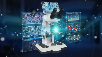 Modern digital microscope with screen analysis 3D rendering