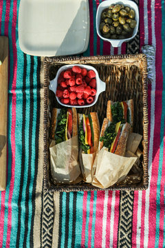 Vegan sandwiches for lunch at the beach