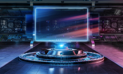 Modern billboard mockup in futuristic interior 3d rendering
