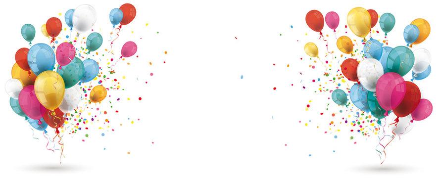 Colored Balloons Confetti Explosion Header