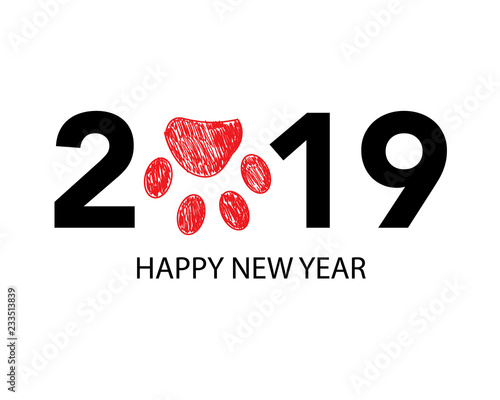 happy new year greeting card with 2019 text and doodle red paw prints