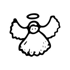 Hand drawn christmas angel doodle. Sketch winter icon. Decoration element. Isolated on white background. Vector illustration