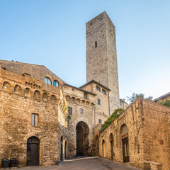 View at the Becci tower in the streets of San Gimignano in Italian Tuscany