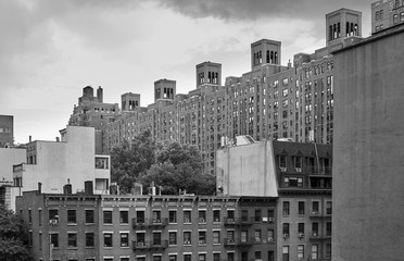 Black and white picture of New York old architecture, USA.