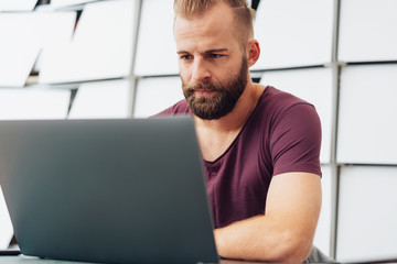 Bearded man working on a laptop computer