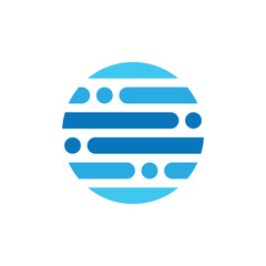 stripes dots circle logo vector