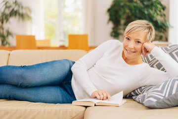 Woman spending a relaxing weekend at home