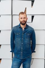 Handsome man in blue denim shirt