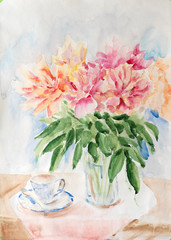 Still life with bouquet of peonies