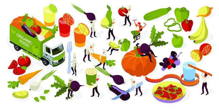 Design for farm fresh food, organic fruits and vegetables, delivery and cooking healthy food. Vector isometric concepts