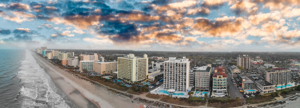 Aerial panoramic view of Myrtle Beach skyline and coastlline at sunset, South Carolina
