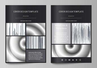 Business templates for brochure, magazine, flyer, booklet. Cover design template, abstract vector layout in A4 size. Simple monochrome geometric pattern. Minimalistic background. Gray color shapes.