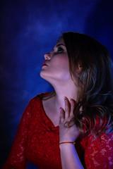 Fashion photoshoot on a dark background