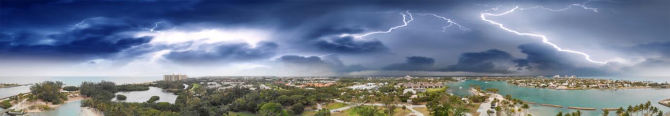 Aerial view of Jupiter coastline during a storm, Florida