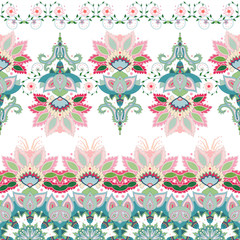 Set of vector seamless borders of oriental traditional flowers.