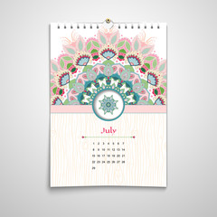 Vector illustration. Spiral calendar with floral round pattern and wooden texture. Oriental indian traditional flower ornament. Hand drawing. Realistic shadows.