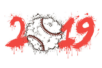 Abstract number 2019 and baseball ball from blots