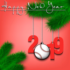 Baseball ball and 2019 on a Christmas tree branch